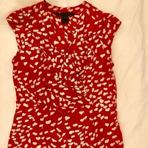 Marc Jacobs front ruffle heart print top